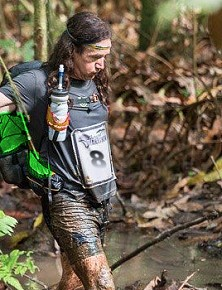 SAS International Eco Challenge runner slogging it out in the hot and humid jungle