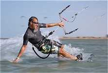 Kitesurfer getting stoked